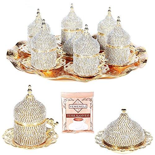 27 Pc Turkish Greek Arabic Coffee Espresso Cup Saucer Swarovski Crystal Set GOLD