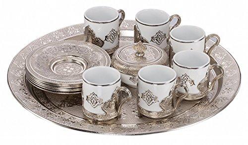 Ottoman Turkish Greek Arabic Coffee Espresso Guest Serving Cup Saucer Set - New Model Round FULL