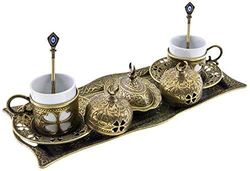 Premium Turkish Greek Arabic Coffee Espresso Serving Set for 2Cups Saucers Lids Tray Delight Sugar Dish 11pc Antique Brass