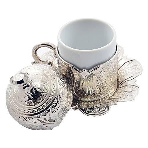 Set of 2 Turkish Greek Coffee Espresso Cup Saucer Set8 Pieces Tulip Silver