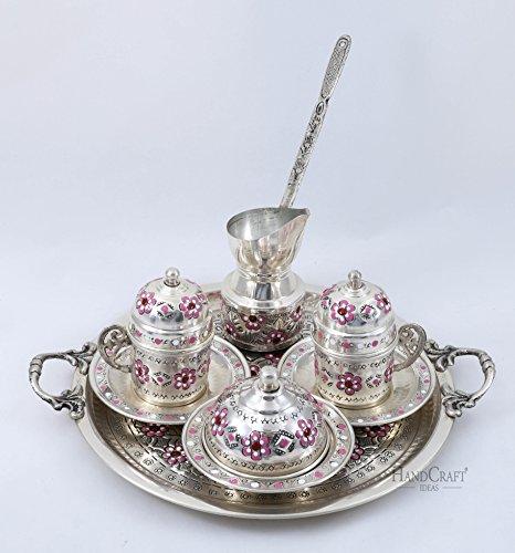 Traditional Design Handmade Copper Turkish Armenian Arabic Greek Coffee Set Espresso Set Coffee Cup Coffee Pot Tea Set for Two-CS2-110a