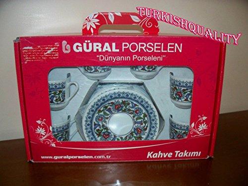 Turkish coffee cup set - Authentic Porcelain Espresso - GURAL Topkapi patterned