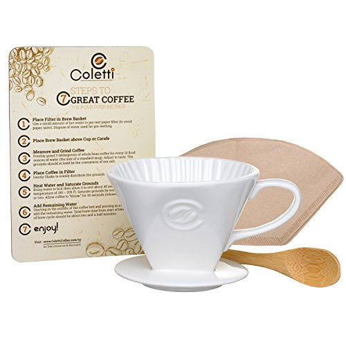 Coletti Vienna Pour Over Ceramic Coffee Dripper Set  Size 2 Includes 40 Filters More