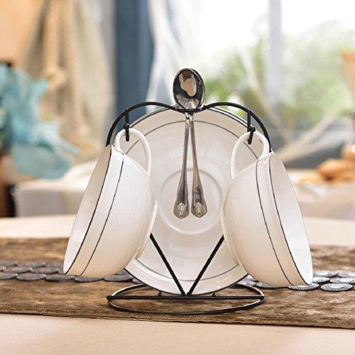 Coffee cup set european ceramic coffee set home simple and bone china coffee cup dish spoon rack-L