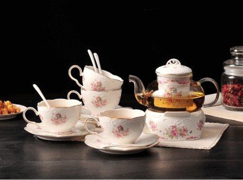 Vintage Sakura Embossed Ceramic Coffee set Cups Porcelain Saucer Spoon Glass Tea Pot Tea Cups Wammer For Coffee shop Home Tea time cake dessert Flower tea set