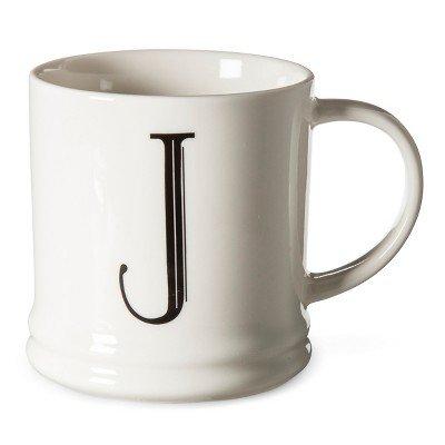 Monogrammed Porcelain Mug 15oz White with Black Letter - Threshold Letter J