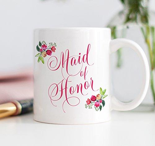 Maid of Honor Mug MOH Coffee Mug Wedding Mug Engagement Coffee Mug Bridesmaid Gifts Bridal Shower Wedding Party Gifts for Maid Honor DM0007