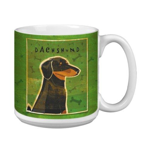 Tree-Free Greetings XM27982 John W Golden Artful Jumbo Mug 20-Ounce Black and Tan Dachshund