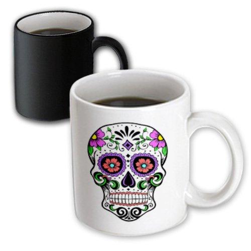3dRose mug_186236_3 Sugar Skull Pink Magic Transforming Mug 11 oz BlackWhite