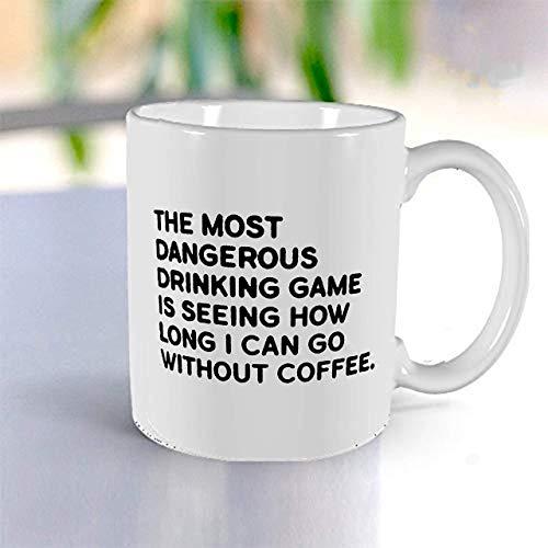 Coffee Drinking Game Funny Coffee Mug Tea Mug- Fun Mugs- Funny Gift for Women Men White Ceramic Mug- 11 oz