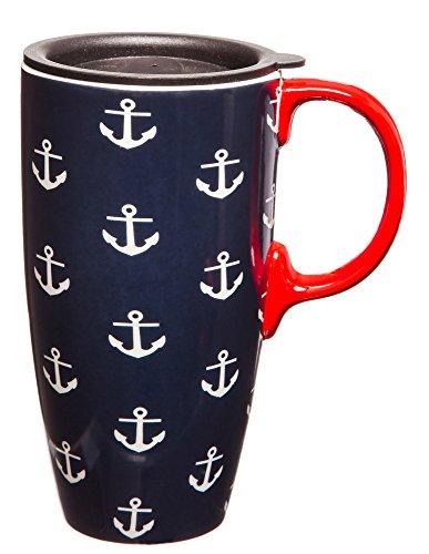 17 oz Anchors Ceramic Latte Travel Mug with Gift Box
