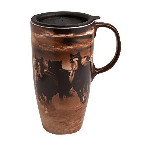 Cypress Home Running Horses Latte Travel Mug by Evergreen Enterprises Inc