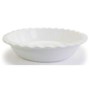 Bia Cordon Bleu White Porcelain 10.5 Inch Pie Dish With Ruffled Rim