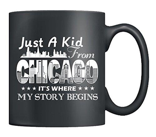 Chicago Mug Ceramic - Kid From Chicago Coffee Mug Tea Cup 11oz Black Best Gifts For Friends Black