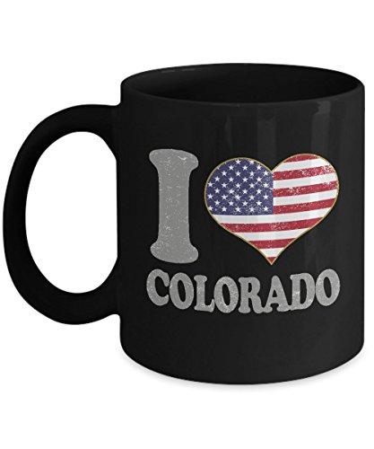 Colorado Coffee Mug - 11oz Black Ceramic Tea Cup Retro Country USA Flag United States Pride Novelty Holiday Christmas Gift Set of 1