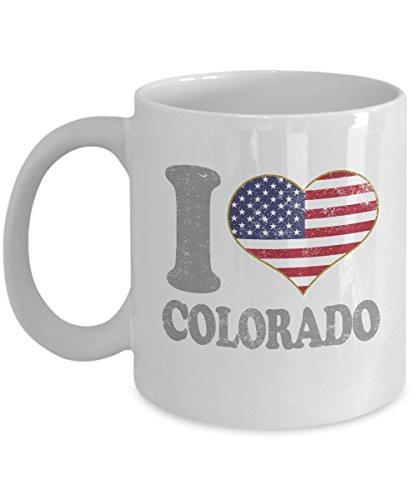 Colorado Coffee Mug - 11oz White Ceramic Tea Cup Retro Country USA Flag United States Pride Novelty Holiday Christmas Gift Set of 1