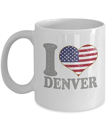 Denver Colorado Coffee Mug - 11oz White Ceramic Tea Cup Retro Country USA Flag Pride Novelty Holiday Christmas Gift Set of 1