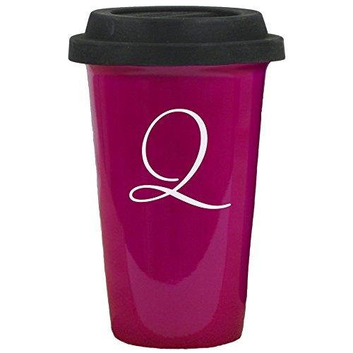 Ceramic Travel Mug 14 oz Black Silicon Lid Initial Q Engraved