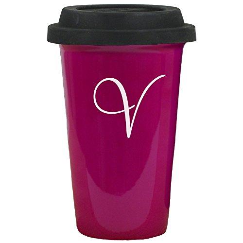 Ceramic Travel Mug 14 oz Black Silicon Lid Initial V Engraved