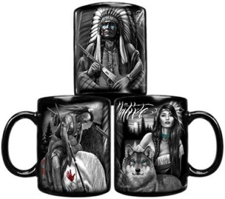 DGA Day of the Dead American Spirit Native American Warrior Wolf Coffee Mug