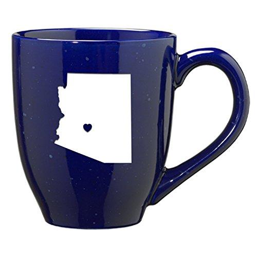 Arizona-State Outline-Heart -16 ounce Ceramic Coffee Mug -Blue