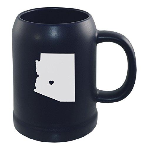 Arizona-State Outline-Heart-22 oz Stein Ceramic Coffee Mug-Navy