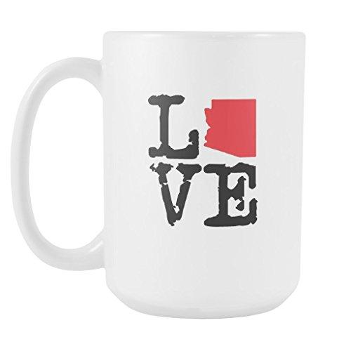 State of Arizona Coffee Mug - AZ State Love Ceramic Coffee Cup - White - 15oz