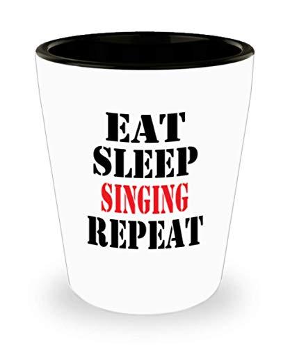 White Ceramic Shot Glass Funny Singing Coffee Mug - Unique Cool Cute Humor Sarcasm Designer Gift Idea for Singingal0919