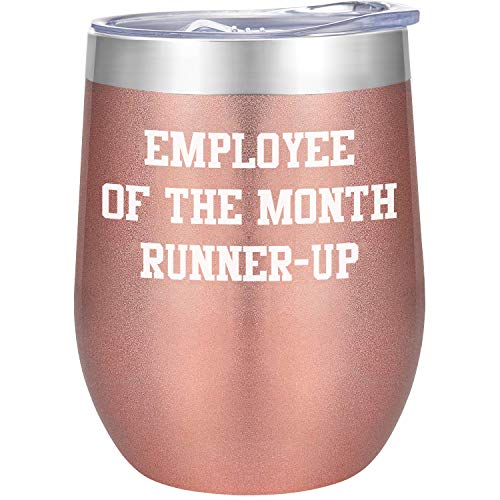 Employee of the Month Runner Up - Funny 12oz Stainless Steel Vacuum Insulated Coffee Mug Wine Tumbler with Lids - Great Gift for Employees Male Female Co-Worker Boss Gold Rose