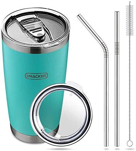 UHACKER 20oz Tumbler with Straw Lid Flip Lid Stainless Steel Vacuum Insulated Coffee Mug Durable Insulated Travel Tumbler,2 Straws Brush Gift Box(Blue