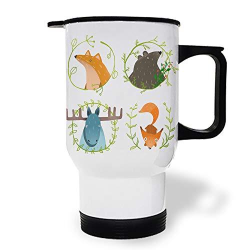 15 oz Stainless Steel Insulated Tumbler Travel Car Mug with Handle Cute Cartoon Animal Fox Deer Coffee Mug with Lids Double Wall Coffee Cups Mugs for Home Office