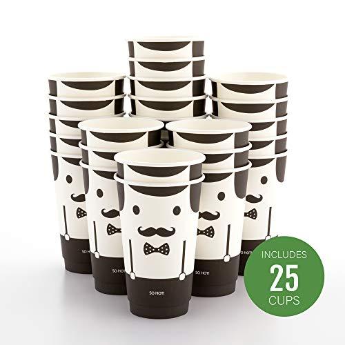Insulated Paper Coffee Cups - Double Wall - Disposable - White - Monsieur - 16 oz - 25ct Box - MATCHING LIDS SOLD SEPARATELY RWA0360B RWA0360W RWA0328LG RWA0328GR RWA0328HP RWA0283W RWA0283B