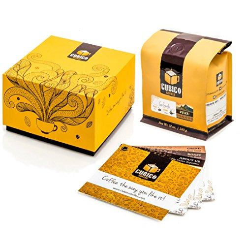 Peru Coffee - Ground Coffee - Freshly Roasted Coffee - Cubico Coffee - 12 Ounce Single Origen Cenfrocafe Peruvian Coffee - Gift Box