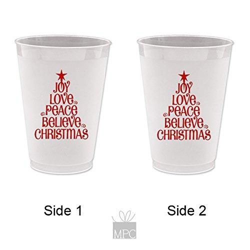 Christmas Frost Flex Plastic Cups - Joy Love Peace 10 cups