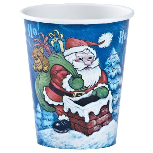 Hannah K Christmas 12-Pack 9-Ounce Santa Hot and Cold Paper Cup Full