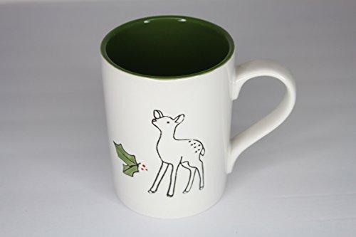 Tag Stoneware Ceramic Mug Christmas Cup Deer Doe and Mistletoe - CreamGreen