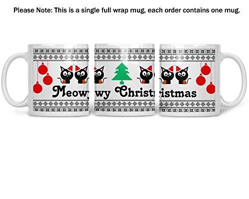 Meowy Christmas Wrap Around Mug - Purr Purr Purr - Funny Cat Lover Christmas Mug - 11OZ Coffee Mug - Perfect Gift for Xmas - Mugs For this Holiday Season - Funny Cat Coffee Mug -Crazy Bros Mugs