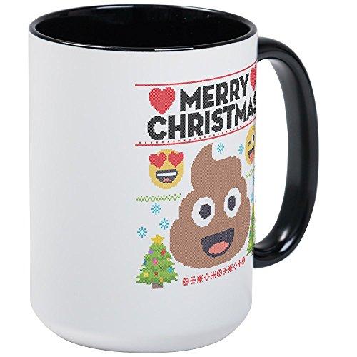 CafePress - Emoji Merry Christmas - Coffee Mug Large 15 oz White Coffee Cup