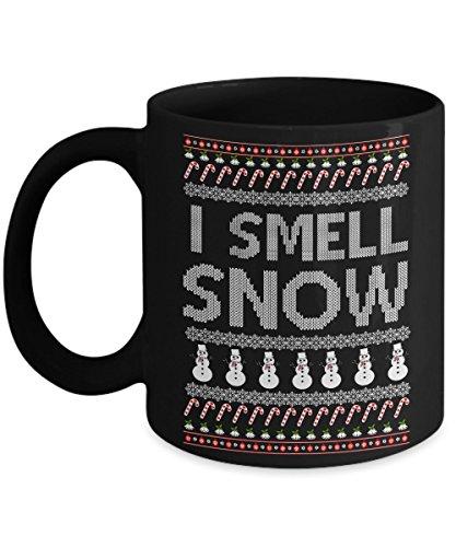 I Smell SNOW merry christmas coffee mug 1115 oz black ceramic