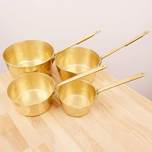 Restored by UKARETRO 4 Boiler potsPans  Vintage Solid Brass  Heavy  Set of 4  Copper