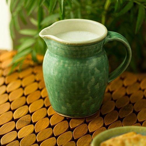 ExclusiveLane Jade Green Ceramic Milk Water Jug Studio Pottery -Carafes Pitchers Jars Containers Kitchen Storage