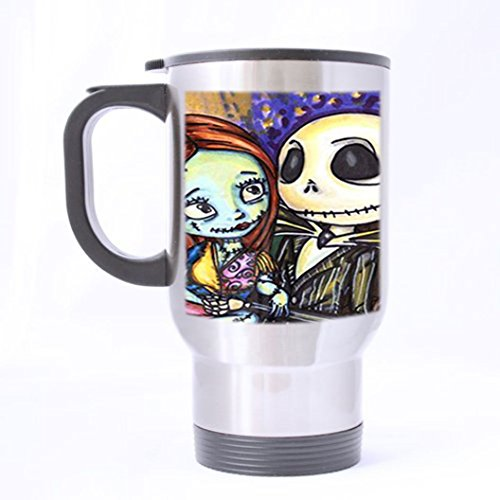 The Nightmare Before Christmas Jack Skeleton and Sally Customized Custom Design Silver Color Stainless Steel Travel Mugs Sports Bottle Coffee Mugs Office Home Cup 14 OZ Two Sides Printed