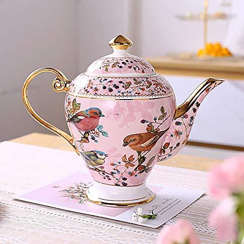 NDHT Bone China 95 Ceramic Teapot Coffee Pot with LidPink Bird1000ml25X25X9 cmwith gift box