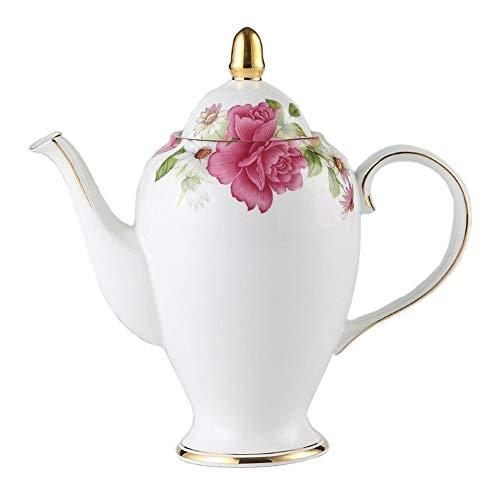 NDHT Bone China 95 Ceramic Teapot Coffee Pot with LidWhite and Pink1000ml25 X 25 X 9cmwith Gift Box