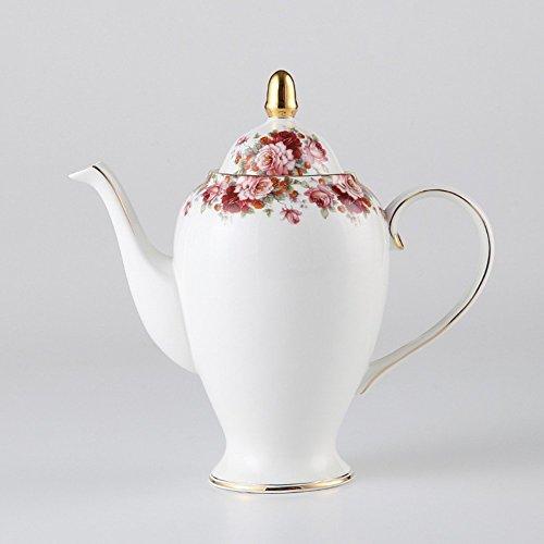 NDHT Bone China 95 Ceramic Teapot Coffee Pot with LidWhite and Red1000ml25 X 25 X 9cmwith a Gift Box