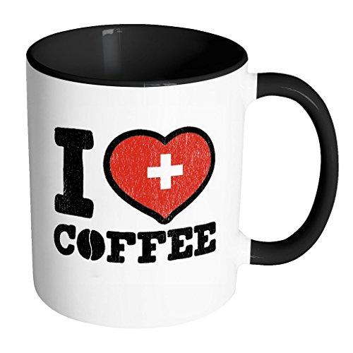 I Love Swiss Coffee - Switzerland Pride Black White 11oz Funny Coffee Mug - But First Caffeine Addict - Women Men Friends Gift - Both Sides Printed Distressed