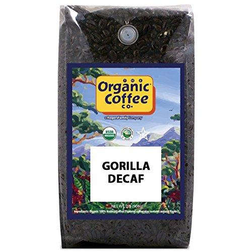 The Organic Coffee Co DECAF Gorilla- Whole Bean 2-Pound 32 oz Swiss Water Process- Decaffeinated USDA Organic
