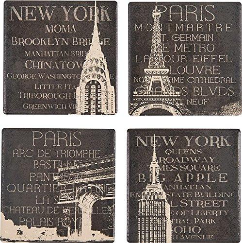 Boston Warehouse New York and Paris Coasters Set of 4