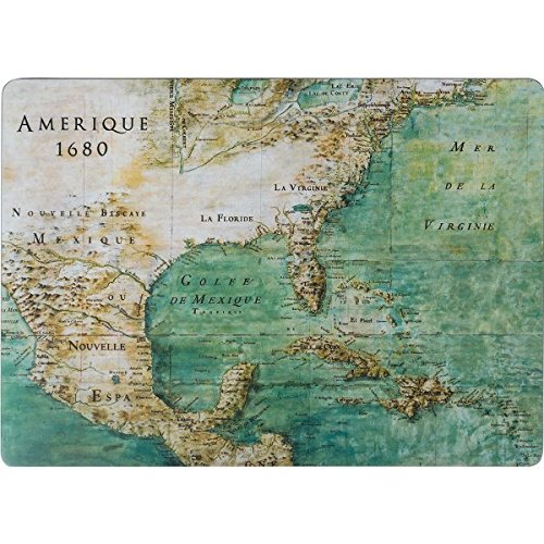 Hard Placemats Cork Backed Table Mats Set of 4 12 x 16 Map
