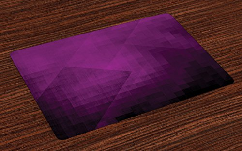 Ambesonne Eggplant Place Mats Set of 4 Abstract Purple Squares in Faded Color Scheme with Modern Art Inspired Style Pixelart Washable Fabric Placemats for Dining Room Kitchen Table Decor Purple